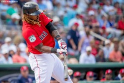 FT. MYERS, FL - MARCH 2: Hanley Ramirez #13 of the Boston Red Sox hits a single during a the fourth inning of a Spring Training game against the Tampa Bay Rays on March 2, 2017 at Fenway South in Fort Myers, Florida . (Photo by Billie Weiss/Boston Red Sox/Getty Images) *** Local Caption *** Hanley Ramirez