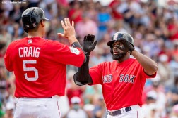 FT. MYERS, FL - MARCH 2: Jackie Bradley Jr. #19 of the Boston Red Sox reacts after hitting a solo home run during the fourth inning of a Spring Training game against the Tampa Bay Rays on March 2, 2017 at Fenway South in Fort Myers, Florida. It was his second home run of the game. (Photo by Billie Weiss/Boston Red Sox/Getty Images) *** Local Caption *** Jackie Bradley Jr.