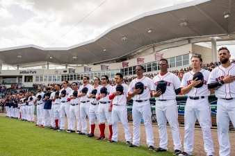 FT. MYERS, FL - MARCH 5: Members of the Boston Red Sox line up before a Spring Training game against the Atlanta Braves on March 5, 2017 at Fenway South in Fort Myers, Florida . (Photo by Billie Weiss/Boston Red Sox/Getty Images) *** Local Caption ***