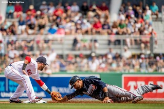 FT. MYERS, FL - MARCH 5: Dustin Pedroia #15 of the Boston Red Sox applies a tag during the first inning of a Spring Training game against the Atlanta Braves on March 5, 2017 at Fenway South in Fort Myers, Florida . (Photo by Billie Weiss/Boston Red Sox/Getty Images) *** Local Caption *** Dustin Pedroia