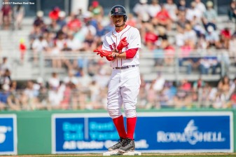 FT. MYERS, FL - MARCH 5: Mookie Betts #50 of the Boston Red Sox reacts after hitting a double during the fifth inning of a Spring Training game against the Atlanta Braves on March 5, 2017 at Fenway South in Fort Myers, Florida . (Photo by Billie Weiss/Boston Red Sox/Getty Images) *** Local Caption *** Mookie Betts