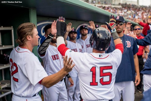 FT. MYERS, FL - MARCH 5: Dustin Pedroia #15 of the Boston Red Sox high fives teammates after scoring during the first inning of a Spring Training game against the Atlanta Braves on March 5, 2017 at Fenway South in Fort Myers, Florida . (Photo by Billie Weiss/Boston Red Sox/Getty Images) *** Local Caption *** Dustin Pedroia