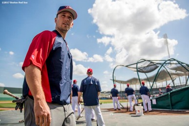 FT. MYERS, FL - MARCH 9: Buster Posey of Team USA looks on before a Spring Training game against the Boston Red Sox on March 9, 2017 at Fenway South in Fort Myers, Florida . (Photo by Billie Weiss/Boston Red Sox/Getty Images) *** Local Caption *** Buster Posey