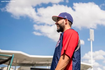 FT. MYERS, FL - MARCH 9: Eric Hosmer of Team USA reacts before a Spring Training game against the Boston Red Sox on March 9, 2017 at Fenway South in Fort Myers, Florida . (Photo by Billie Weiss/Boston Red Sox/Getty Images) *** Local Caption *** Eric Hosmer