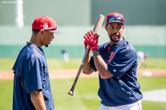 FT. MYERS, FL - MARCH 9: Chris Young #30 demonstrates swings with Mookie Betts #50 of the Boston Red Sox before a Spring Training game against Team USA on March 9, 2017 at Fenway South in Fort Myers, Florida . (Photo by Billie Weiss/Boston Red Sox/Getty Images) *** Local Caption *** Chris Young; Mookie Betts