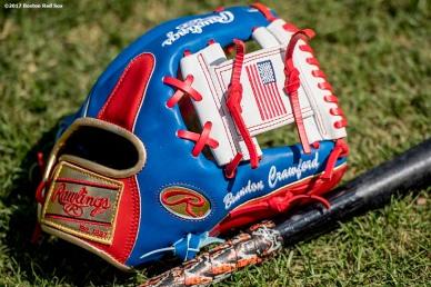 FT. MYERS, FL - MARCH 9: The glove of Brandon Crawford of Team USA is shown before a Spring Training game against the Boston Red Sox on March 9, 2017 at Fenway South in Fort Myers, Florida . (Photo by Billie Weiss/Boston Red Sox/Getty Images) *** Local Caption *** Brandon Crawford