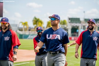 FT. MYERS, FL - MARCH 9: Giancarlo Stanton and Eric Hosmer of Team USA warm up before a Spring Training game against the Boston Red Sox on March 9, 2017 at Fenway South in Fort Myers, Florida . (Photo by Billie Weiss/Boston Red Sox/Getty Images) *** Local Caption *** Giancarlo Stanton; Eric Hosmer