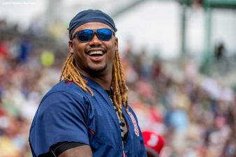 FT. MYERS, FL - MARCH 9: Hanley Ramirez #13 of the Boston Red Sox reacts during the second inning of a Spring Training game against Team USA on March 9, 2017 at Fenway South in Fort Myers, Florida . (Photo by Billie Weiss/Boston Red Sox/Getty Images) *** Local Caption *** Hanley Ramirez