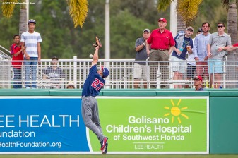 FT. MYERS, FL - MARCH 9: Giancarlo Stanton #27 of Team USA attempts to catch a home run ball by Jackie Bradley Jr. #19 of the Boston Red Sox during the second inning of a Spring Training game on March 9, 2017 at Fenway South in Fort Myers, Florida . (Photo by Billie Weiss/Boston Red Sox/Getty Images) *** Local Caption *** Giancarlo Stanton
