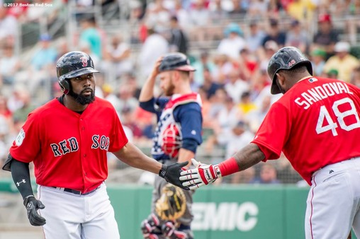 FT. MYERS, FL - MARCH 9: Jackie Bradley Jr. #19 of the Boston Red Sox high fives Pablo Sandoval #48 after hitting a solo home run during the first inning of a Spring Training game against Team USA on March 9, 2017 at Fenway South in Fort Myers, Florida . (Photo by Billie Weiss/Boston Red Sox/Getty Images) *** Local Caption *** Jackie Bradley Jr.; Pablo Sandoval