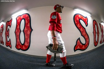 FT. MYERS, FL - MARCH 9: Mookie Betts #50 of the Boston Red Sox walks through the tunnel before a Spring Training game against Team USA on March 9, 2017 at Fenway South in Fort Myers, Florida . (Photo by Billie Weiss/Boston Red Sox/Getty Images) *** Local Caption *** Mookie Betts