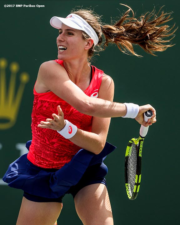 Johanna Konta in action against Heather Watson at the Indian Wells Tennis Garden in Indian Wells, California on Friday, March 10, 2017. (Photo by Billie Weiss/BNP Paribas Open)