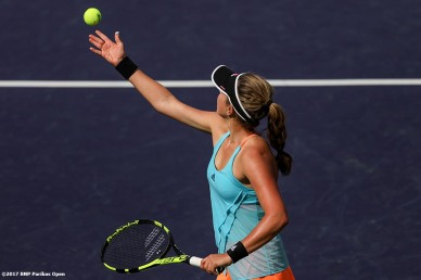 Kayla Day in action against Mirjana Lucic-Baroni at the Indian Wells Tennis Garden in Indian Wells, California on Friday, March 10, 2017. (Photo by Billie Weiss/BNP Paribas Open)