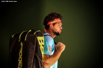 Jo-Wilfried Tsonga walks through the tunnel before a match against Fabio Fognini at the Indian Wells Tennis Garden in Indian Wells, California on Saturday, March 11, 2017. (Photo by Billie Weiss/BNP Paribas Open)