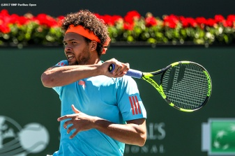 Jo-Wilfried Tsonga in action during a match against Fabio Fognini at the Indian Wells Tennis Garden in Indian Wells, California on Saturday, March 11, 2017. (Photo by Billie Weiss/BNP Paribas Open)