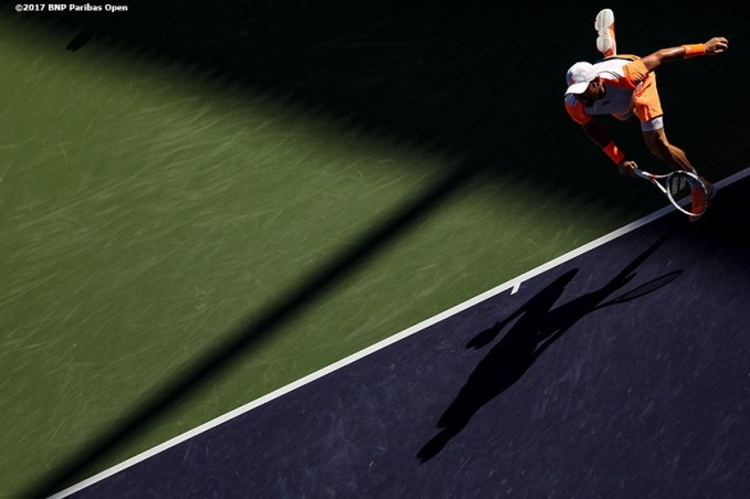 Bjorn Fratangelo in action against Tomas Berdych at the Indian Wells Tennis Garden in Indian Wells, California on Saturday, March 11, 2017. (Photo by Billie Weiss/BNP Paribas Open)