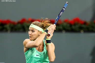 Lucie Safarova in action against Coco Vandeweghe at the Indian Wells Tennis Garden in Indian Wells, California on Saturday, March 11, 2017. (Photo by Billie Weiss/BNP Paribas Open)