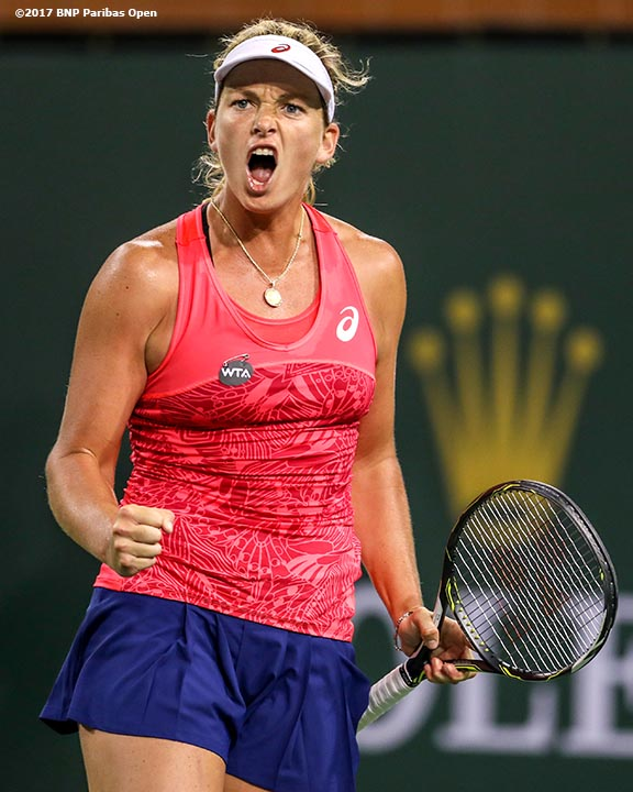 Coco Vandeweghe reacts during a match against against Lucie Safarova at the Indian Wells Tennis Garden in Indian Wells, California on Saturday, March 11, 2017. (Photo by Billie Weiss/BNP Paribas Open)