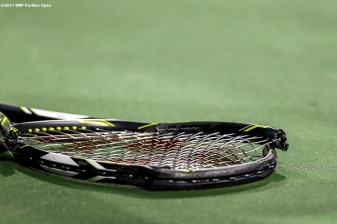 The racquet of Coco Vandeweghe is shown after she broke it during a match against against Lucie Safarova at the Indian Wells Tennis Garden in Indian Wells, California on Saturday, March 11, 2017. (Photo by Billie Weiss/BNP Paribas Open)