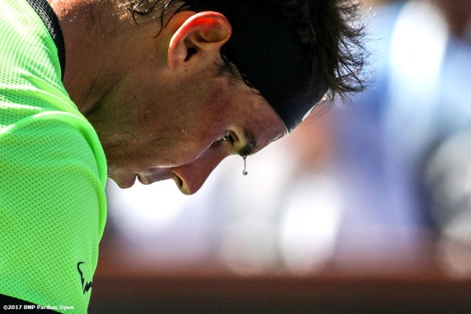 Rafael Nadal in action during a match against Guido Pella during the 2017 BNP Paribas Open at the Indian Wells Tennis Garden in Indian Wells, California on Sunday, March 12, 2017. (Photo by Billie Weiss/BNP Paribas Open)