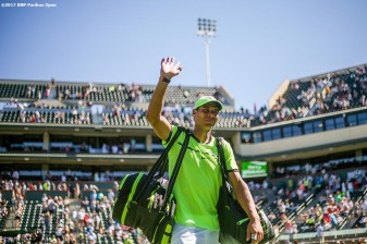 Rafael Nadal waves as he walks off court after defeating Guido Pella during the 2017 BNP Paribas Open at the Indian Wells Tennis Garden in Indian Wells, California on Sunday, March 12, 2017. (Photo by Billie Weiss/BNP Paribas Open)