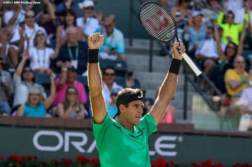 Juan Martin Del Potro reacts after hitting a between the legs shot during a match against Federico Delbonis during the 2017 BNP Paribas Open at the Indian Wells Tennis Garden in Indian Wells, California on Sunday, March 12, 2017. (Photo by Billie Weiss/BNP Paribas Open)