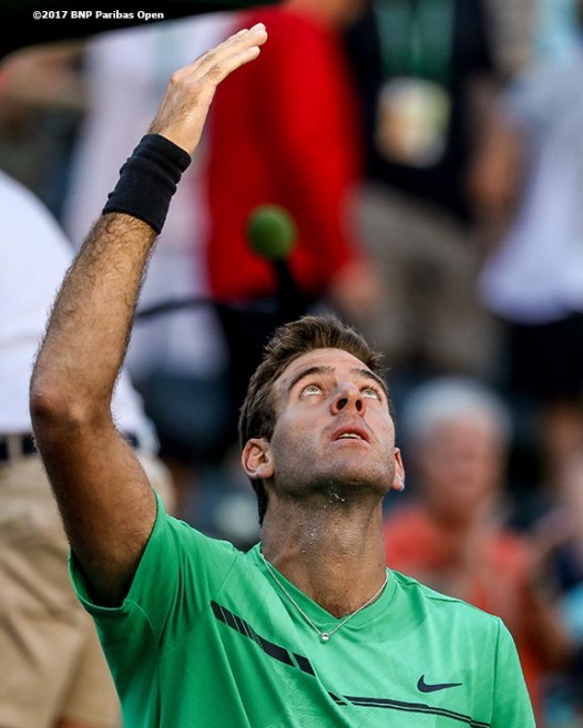 Juan Martin Del Potro reacts after defeating Federico Delbonis during the 2017 BNP Paribas Open at the Indian Wells Tennis Garden in Indian Wells, California on Sunday, March 12, 2017. (Photo by Billie Weiss/BNP Paribas Open)