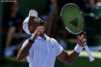 Donald Young reacts after defeating Lucas Pouille at the Indian Wells Tennis Garden in Indian Wells, California on Tuesday, March 14, 2017. (Photo by Billie Weiss/BNP Paribas Open)
