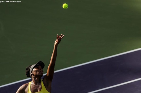 Venus Williams in action during a match against Shuai Peng at the Indian Wells Tennis Garden in Indian Wells, California on Tuesday, March 14, 2017. (Photo by Billie Weiss/BNP Paribas Open)