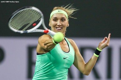 Elena Vesnina in action during a match against Angelique Kerberat the Indian Wells Tennis Garden in Indian Wells, California on Tuesday, March 14, 2017. (Photo by Billie Weiss/BNP Paribas Open)