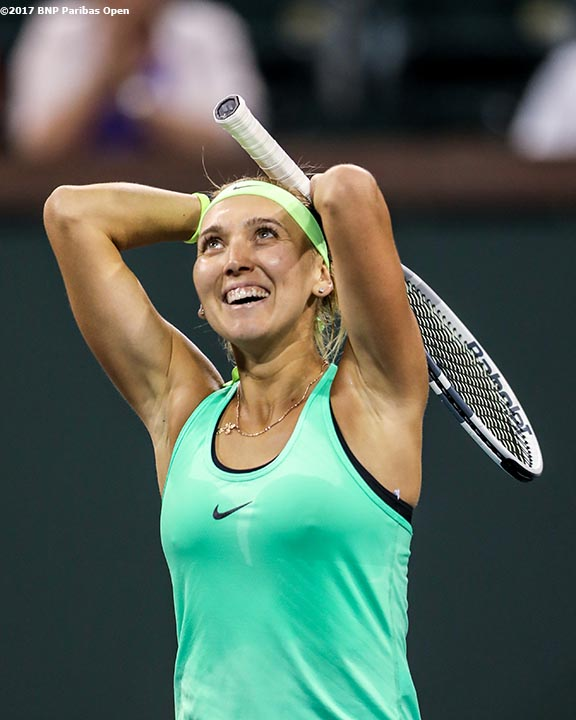 Elena Vesnina reacts after defeating Angelique Kerber during a match at the Indian Wells Tennis Garden in Indian Wells, California on Tuesday, March 14, 2017. (Photo by Billie Weiss/BNP Paribas Open)