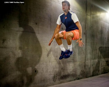 Dominic Thiem warms up in the tunnel before a match against Mischa Zverev during the 2017 BNP Paribas Open at the Indian Wells Tennis Garden in Indian Wells, California on Monday, March 13, 2017. (Photo by Billie Weiss/BNP Paribas Open)