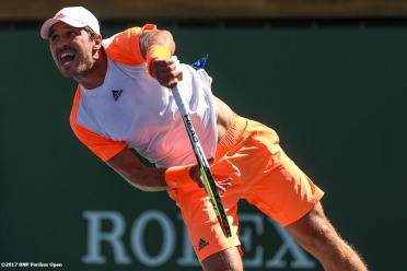 Mischa Zverev in action during a match against Dominic Thiem during the 2017 BNP Paribas Open at the Indian Wells Tennis Garden in Indian Wells, California on Monday, March 13, 2017. (Photo by Billie Weiss/BNP Paribas Open)