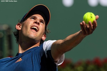 Dominic Thiem in action during a match against Mischa Zverev during the 2017 BNP Paribas Open at the Indian Wells Tennis Garden in Indian Wells, California on Monday, March 13, 2017. (Photo by Billie Weiss/BNP Paribas Open)