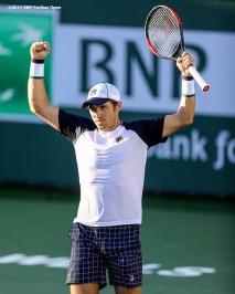 Dusan Lajovic reacts after defeating Vasek Posposil during the 2017 BNP Paribas Open at the Indian Wells Tennis Garden in Indian Wells, California on Monday, March 13, 2017. (Photo by Billie Weiss/BNP Paribas Open)