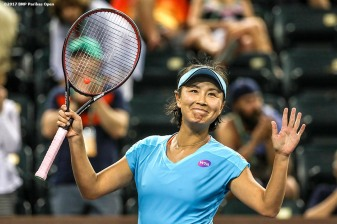 Shuai Peng reacts after defeating Agnieszka Radwanska during the 2017 BNP Paribas Open at the Indian Wells Tennis Garden in Indian Wells, California on Monday, March 13, 2017. (Photo by Billie Weiss/BNP Paribas Open)