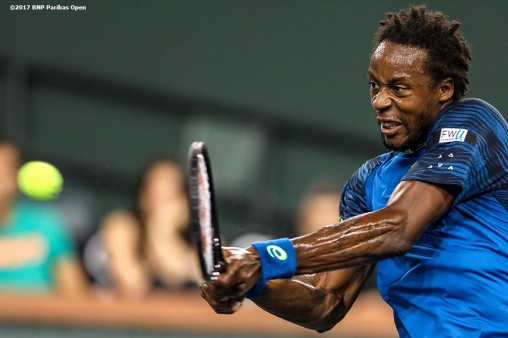 Gael Monfils in action during a match against Dominic Thiem at the Indian Wells Tennis Garden in Indian Wells, California on Saturday, March 11, 2017. (Photo by Billie Weiss/BNP Paribas Open)