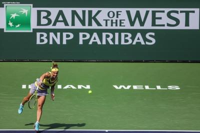 Svetlana Kuznetsova in action during a match against Anastasia Pavlyuchenkova at the Indian Wells Tennis Garden in Indian Wells, California on Saturday, March 11, 2017. (Photo by Billie Weiss/BNP Paribas Open)