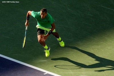 Nick Kyrgios in action during a match against Novak Djokovic at the Indian Wells Tennis Garden in Indian Wells, California on Saturday, March 11, 2017. (Photo by Billie Weiss/BNP Paribas Open)