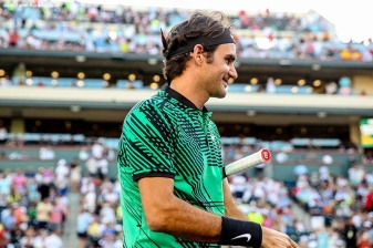 Roger Federer warms up before a match against Rafael Nadal at the Indian Wells Tennis Garden in Indian Wells, California on Saturday, March 11, 2017. (Photo by Billie Weiss/BNP Paribas Open)