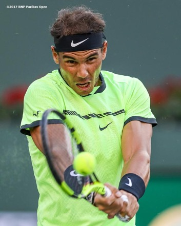 Rafael Nadal in action during a match against Roger Federer at the Indian Wells Tennis Garden in Indian Wells, California on Saturday, March 11, 2017. (Photo by Billie Weiss/BNP Paribas Open)