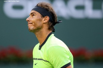 Rafael Nadal reacts during a match against Roger Federer at the Indian Wells Tennis Garden in Indian Wells, California on Saturday, March 11, 2017. (Photo by Billie Weiss/BNP Paribas Open)