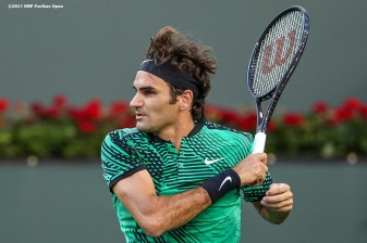Roger Federer in action during a match against Rafael Nadal at the Indian Wells Tennis Garden in Indian Wells, California on Saturday, March 11, 2017. (Photo by Billie Weiss/BNP Paribas Open)
