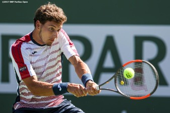 Pablo Carreno Busta in action during a matcha gainst Pablo Cuevas at the Indian Wells Tennis Garden in Indian Wells, California on Thursday, March 16, 2017. (Photo by Billie Weiss/BNP Paribas Open)