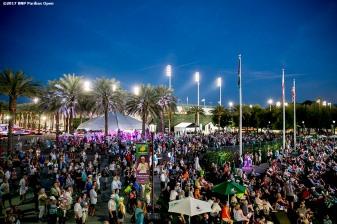 Fans fill Stadium Plaza at the Indian Wells Tennis Garden in Indian Wells, California on Thursday, March 16, 2017. (Photo by Billie Weiss/BNP Paribas Open)