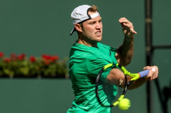 Jack Sock in action during a match against Kei Nishikori at the Indian Wells Tennis Garden in Indian Wells, California on Friday, March 17, 2017. (Photo by Billie Weiss/BNP Paribas Open)