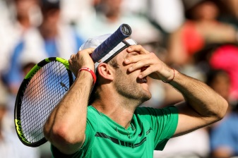 Jack Sock reacts during a match against Kei Nishikori at the Indian Wells Tennis Garden in Indian Wells, California on Friday, March 17, 2017. (Photo by Billie Weiss/BNP Paribas Open)