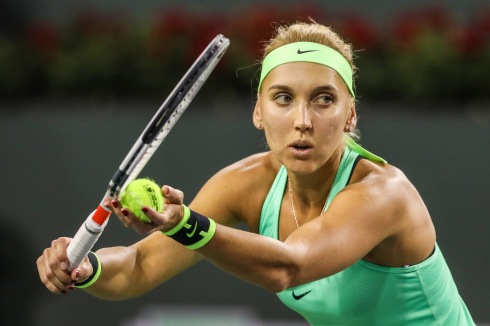 Elena Vesnina in action during the semi-final match against Kristina Mladenovic at the Indian Wells Tennis Garden in Indian Wells, California on Friday, March 17, 2017. (Photo by Billie Weiss/BNP Paribas Open)