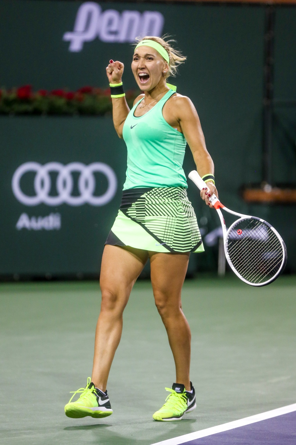 Elena Vesnina reacts after winning the semi-final match against Kristina Mladenovic at the Indian Wells Tennis Garden in Indian Wells, California on Friday, March 17, 2017. (Photo by Billie Weiss/BNP Paribas Open)