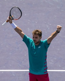 Stan Wawrinka reacts after winning the men's semi-final against Pablo Carreno Busta at the Indian Wells Tennis Garden in Indian Wells, California on Saturday, March 18, 2017. (Photo by Billie Weiss/BNP Paribas Open)